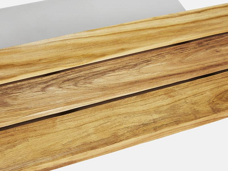 enkel havebænk rustik i teak træ fra scanteaks sortiment af teakstræs havemøbler
