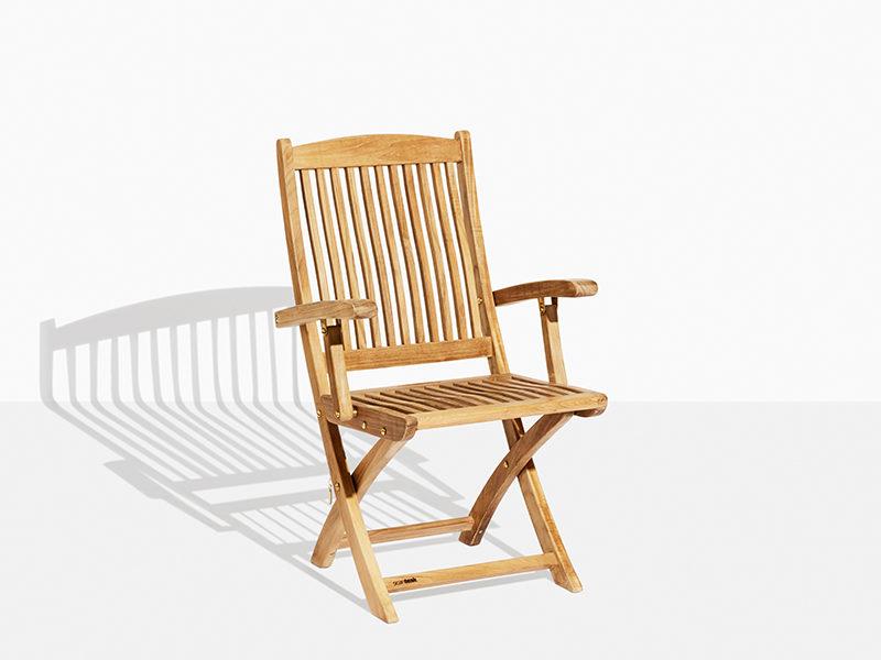 klapstol i teak - Havestol i teak der kan klappes sammen. foldestol i teaktræ til have og terrasse