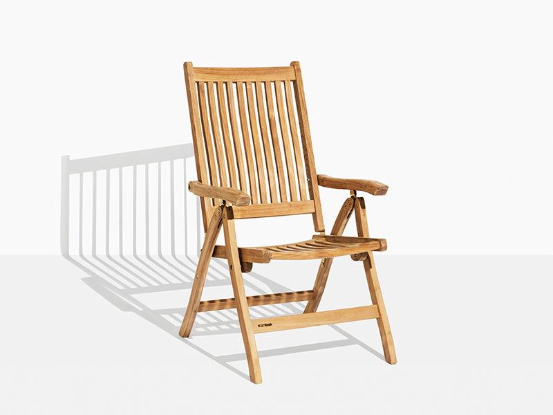Havestol i teak med vippefunktion. Positionsstol i teaktræ til have og terrasse