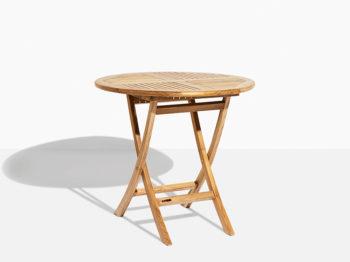 rundt havebord i teak der kan foldes. Have bord der kan klappes sammen i 80 cm diameter.