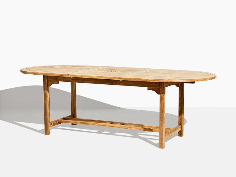 Havebord i teak ovalt rundt udtræksbord i teak træ. Med butterfly funktion. 180 cm til 240 cm. Godt tilbud og flot design. Bæredygtigt plantage teak